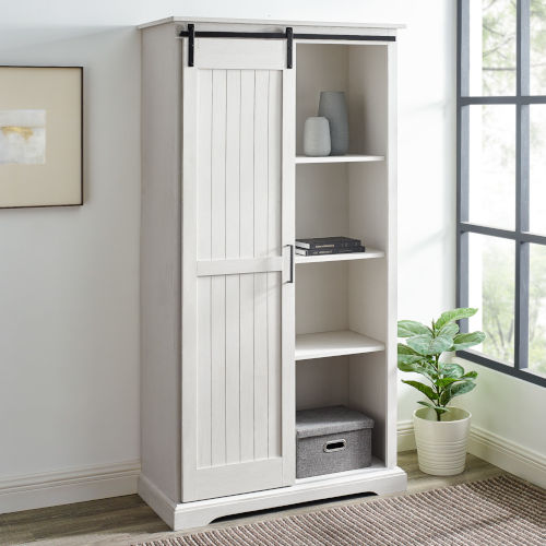 Barn Door Brushed White Storage Cabinet