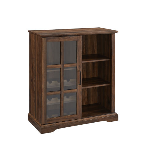 Lennon Dark Walnut and Black Sliding Glass Door Bar Cabinet