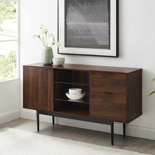 Astor Dark Walnut and Black Sideboard with Two Drawer