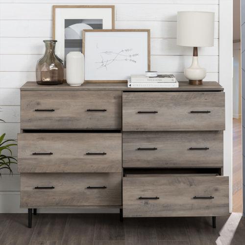 Grey Wash Modern Wood 6-Drawer Buffet