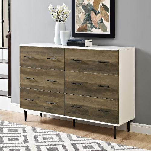 White and Rustic Oak Modern Wood 6-Drawer Buffet - White/Rustic Oak