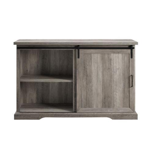 Gray Grooved Door 3 Drawer Sideboard