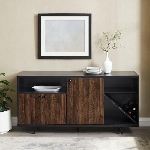 Rogan Solid Black and Dark Walnut Sideboard with Three Door