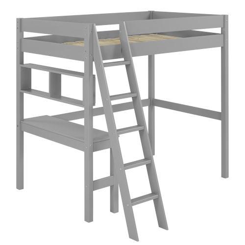 Swan Grey Twin Loft Bed with Desk