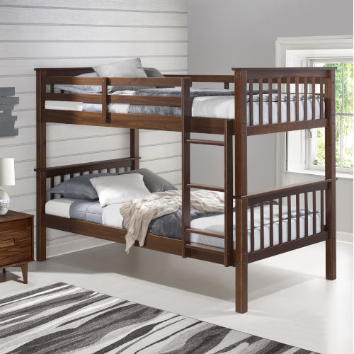 Walnut Twin Over Twin Bunk Bed