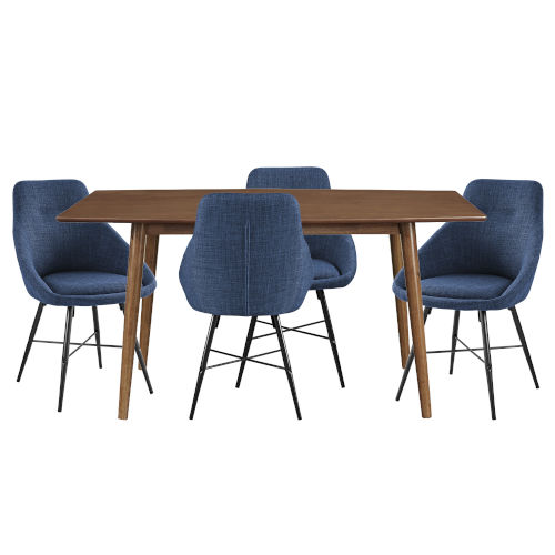 Acorn and Blue Dining Table Set , 5 Piece