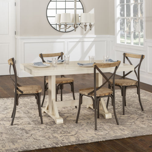 Walker Edison Furniture Co. Antique White and Reclaimed Chairs Dining Table  Set, 5 Piece