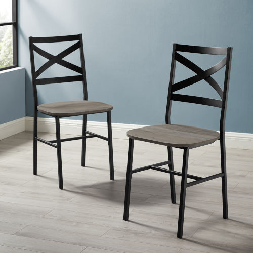 Angle Iron Gray and Black X Back Dining Chair, Set of 2