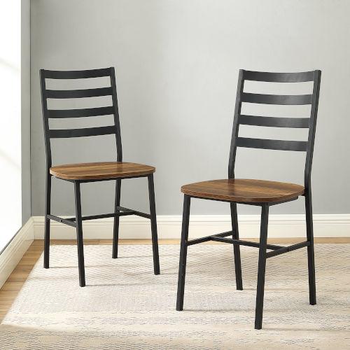 Barnwood and Black Slat Back Dining Chair, Set of 2