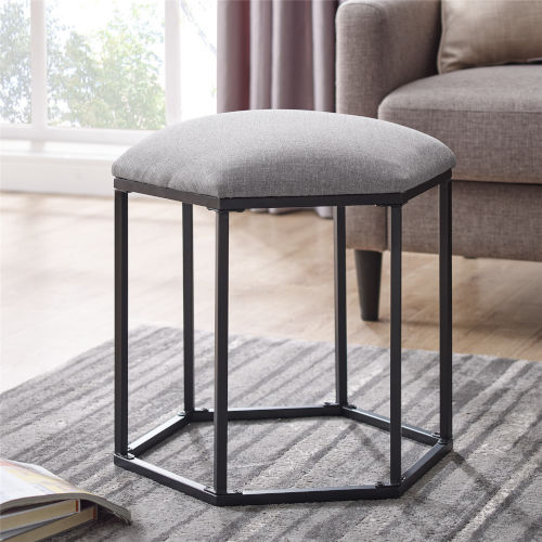 Gray and Black Upholstered Hexagon Ottoman