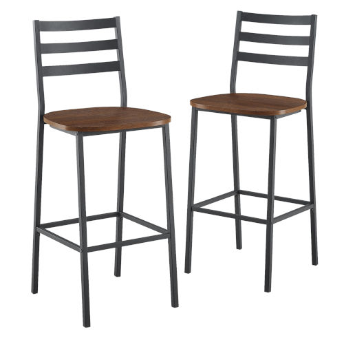 Dark Walnut and Black Slat Back Counter Stool, Set of 2
