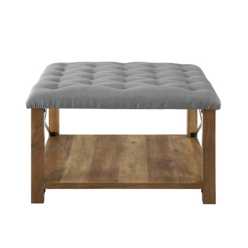 Gray 30-Inch Tufted Ottoman