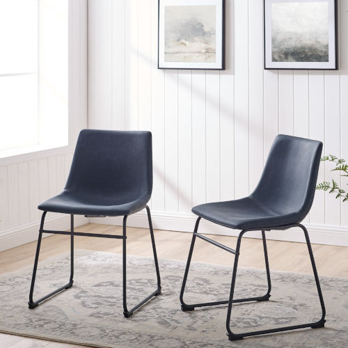 Navy Blue and Black Dining Chair, Set of 2