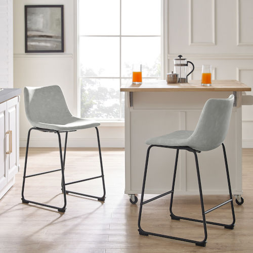 Gray and Black Counter Stool, Set of 2