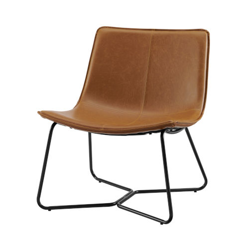 Whiskey Brown and Black Lounge Accent Chair