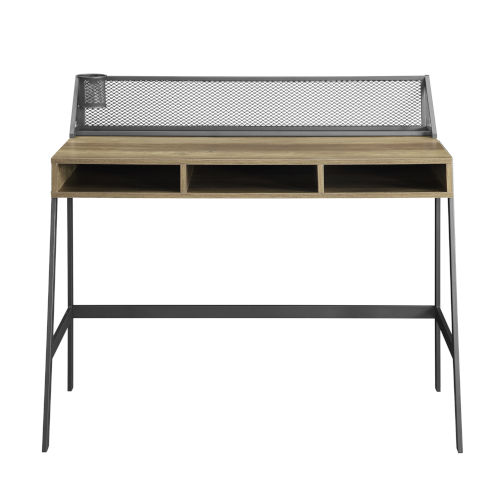 Black and Reclaimed Barnwood 42-Inch Writing Desk