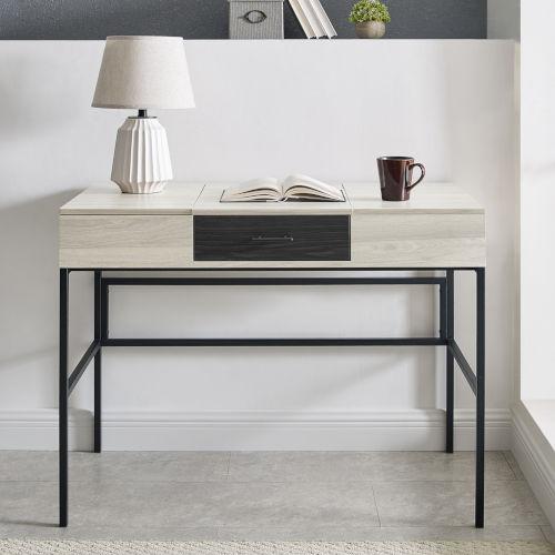Lilian Birch and Graphite Storage Desk with Tablet Holder