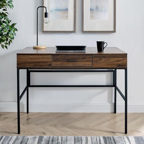 Lilian Dark Walnut and Black Storage Desk with Tablet Holder