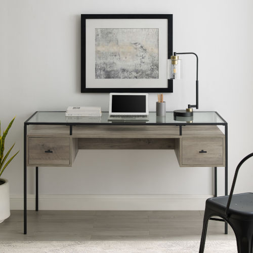 Fulton Gray and Black Two Drawer Desk with Glass Top