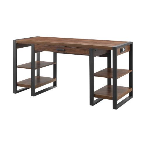 Dark Walnut and Black Computer Desk with Side Shelves