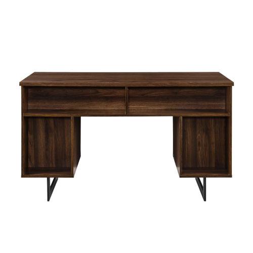 Perkins Dark Walnut and Black Executive Desk with Dual Storage