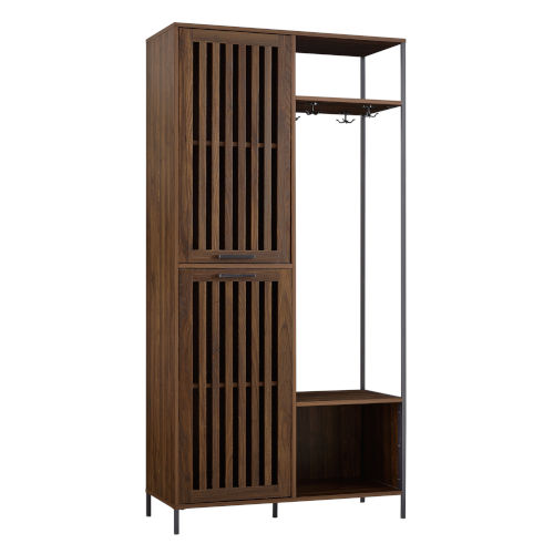 Dark Walnut and Black Slat Door Hall Tree