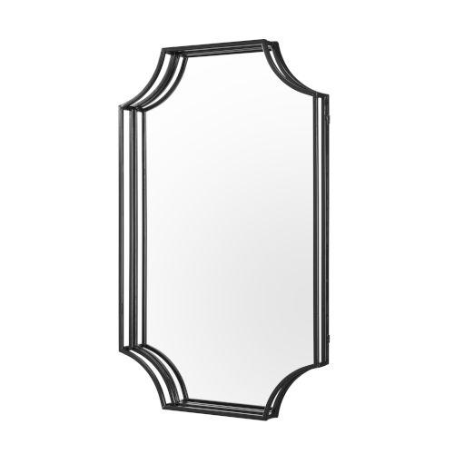Black Rectangle Notched Corner Framed Mirror
