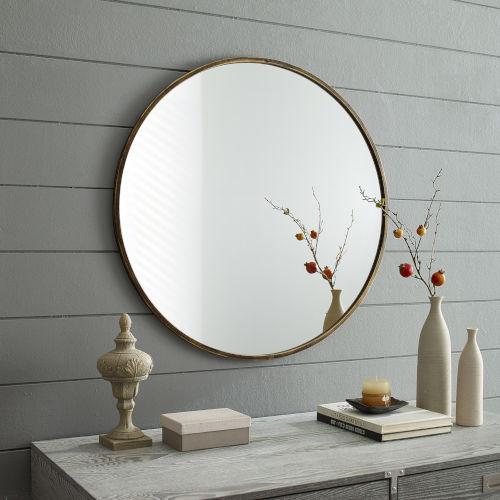 Antique Brass Round Framed Mirror