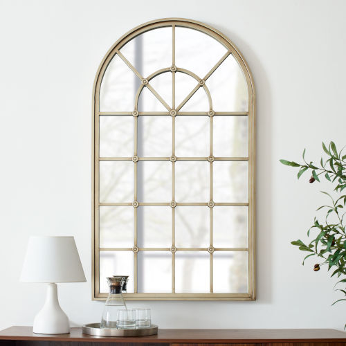 Antique Pewter Arched Windowpane Mirror