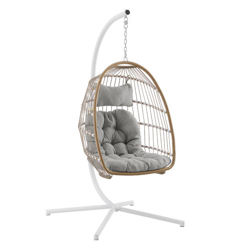 Brown and Gray Outdoor Swing Egg Chair with Stand