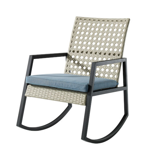 Gray and Blue 38-Inch Outdoor Rattan Rocking Chair