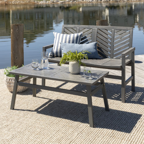 Gray Wash 25-Inch Two-Piece Chevron Outdoor Chat Set