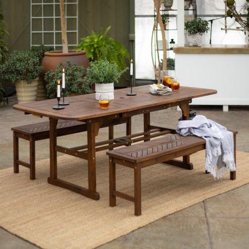 Dark Brown 35-Inch Three-Piece Extendable Outdoor Dining Set