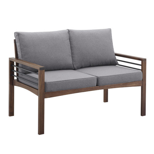 Pearson Gray and Dark Brown Outdoor Loveseat
