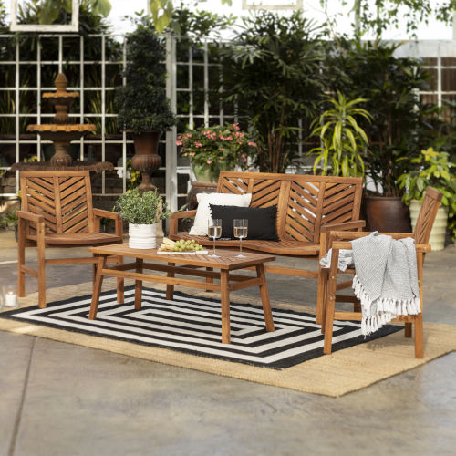 Brown 25-Inch Four-Piece Chevron Outdoor Chat Set