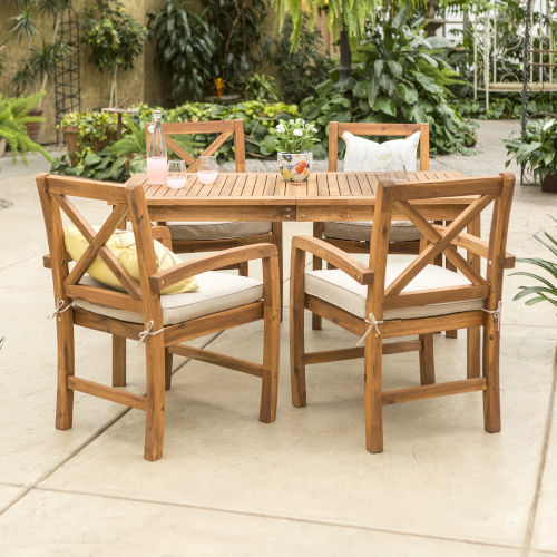 Brown Rectangular Patio Dining Set, 5 Piece