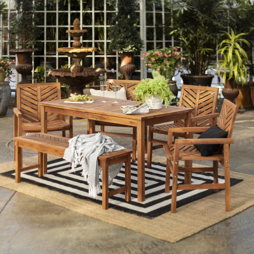Brown 32-Inch Six-Piece Chevron Outdoor Dining Set