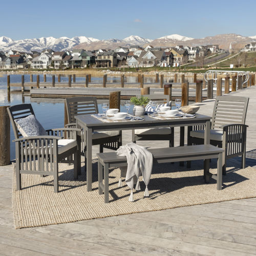Gray Wash 32-Inch Six-Piece Simple Outdoor Dining Set