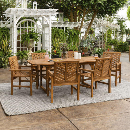 Brown 35-Inch Seven-Piece Extendable Outdoor Dining Set