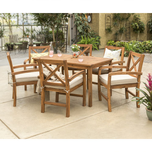 Brown Patio Dining Table Set , 7 Piece