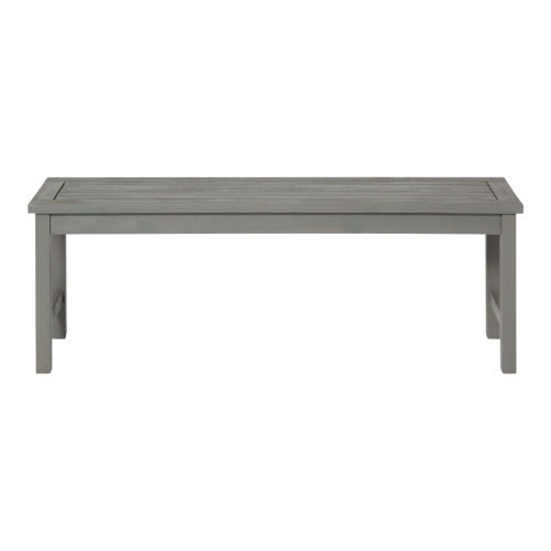 Gray Wash 14-Inch Acacia Wood Outdoor Dining Bench