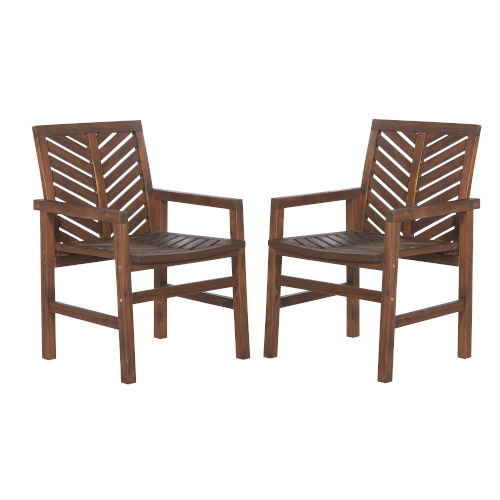 Dark Brown Patio Chairs, Set of 2
