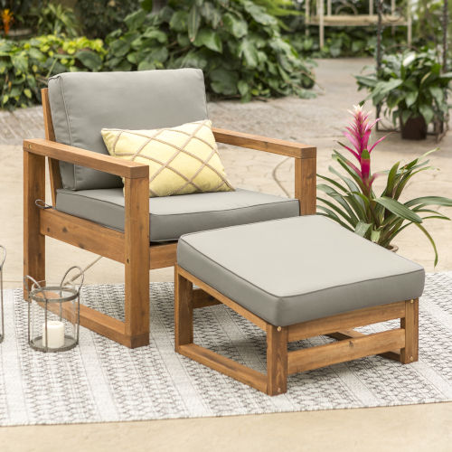 Brown Patio Chair and Ottoman