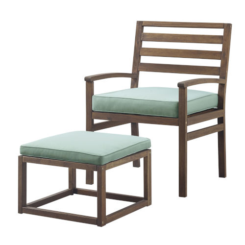Dark Brown and Blue 35-Inch Acacia Wood Outdoor Chair and Pull Out Ottoman