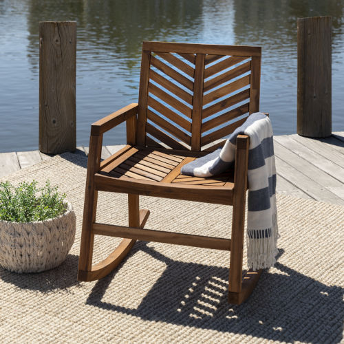 Brown 35-Inch Outdoor Chevron Rocking Chair