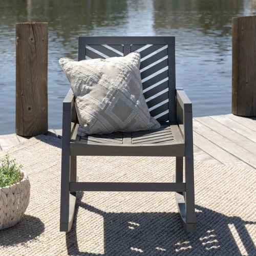 Gray Wash 35-Inch Outdoor Chevron Rocking Chair