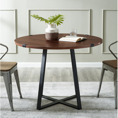 Dark Walnut and Black Round Dining Table