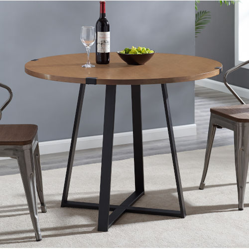 English Oak and Black Round Dining Table