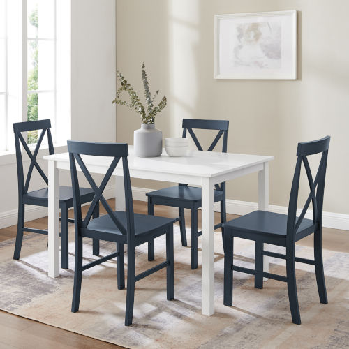 White and Navy Dining Set, Five Piece