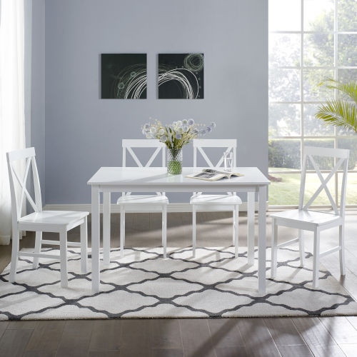 White Dining Set with X Back Chair, 5-Piece
